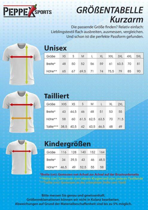 Größentabelle P223 Freestyle Kurzarmshirt
