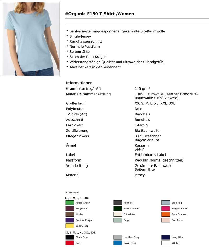 Bio Baumwoll T-Shirt Damen